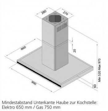 Amica Inselhaube 90 cm Edelstahl NewPlatinum IH 17190 E
