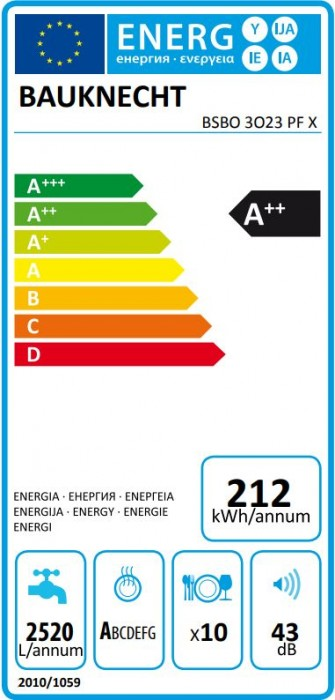 Bauknecht Geschirrspüler 45cm teilintegrierbar BSBO 3O23 PF