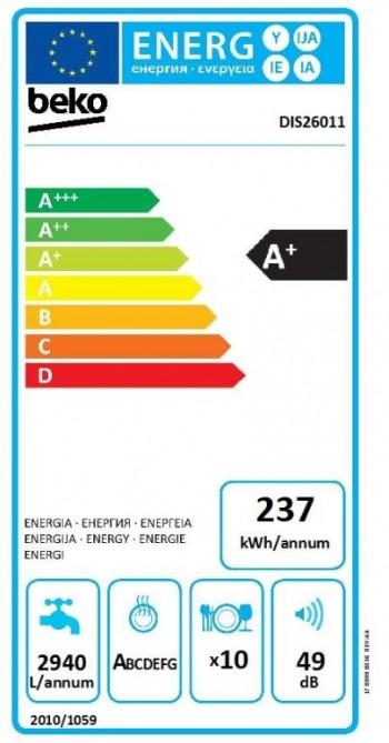 Beko Geschirrspüler Vollintegrierbar 45 cm DIS26011