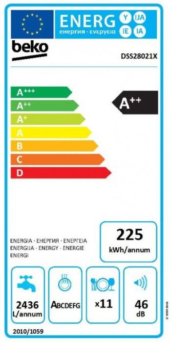 Beko Geschirrspüler Integrierbar 45 cm DSS28021X