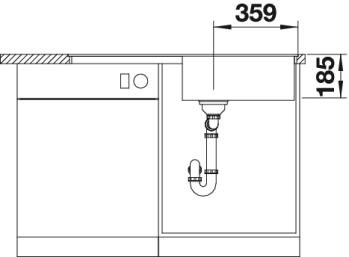 Blanco Spüle IDENTO XL 6 S-F Keramik PuraPlus® reversibel magnolia glänzend 522278