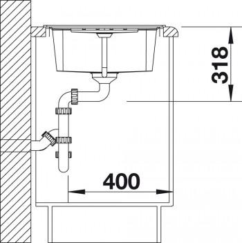 45 cm Unterschrank Blanco 524907 Lexa 45 S K/üchensp/üle Tartufo