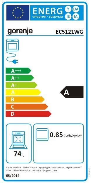 Gorenje Elektroherd mit Glaskeramik-Kochfeld weiß EC 5121 WG