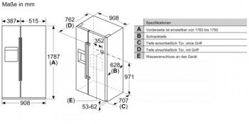 Siemens Kühl-Gefrier-Kombination Side by Side KA93DAIEP