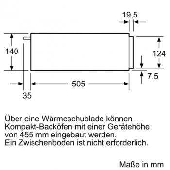 Siemens Wärmeschublade Edelstahl, schwarz BI510CNR0