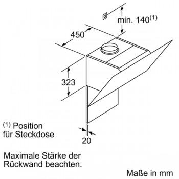 Siemens Wand-Esse silber mit Glasschirm 60 cm LC67KHM10