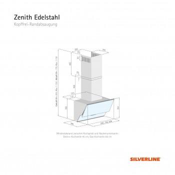 Silverline Wandhaube Zenith Edelstahl Weißglas 90 cm ZEW 900 WE