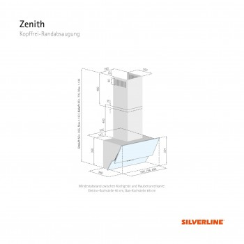 Silverline Wandhaube Zenith 90 cm Schwarz / Schwarzglas ZEW 900 S