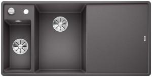 BLANCO Granitspüle AXIA III 6 S-F SILGRANIT® PuraDur® mit Holzschneidbrett Becken links felsgrau 524664