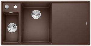 BLANCO Granitspüle AXIA III 6 S-F SILGRANIT® PuraDur® mit Holzschneidbrett Becken links cafe 524668