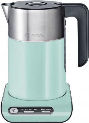Bosch Styline Wasserkocher kabellos Kunststoff mit Edelstahl mint turquoise/ black grey TWK8612P