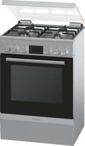 Bosch Gas-Kombi-Standherd/Kochfeld, Edelstahl HGD745250