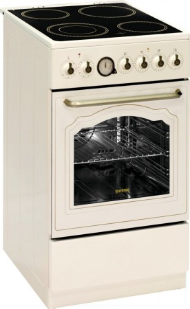 Gorenje Elektroherd mit Glaskeramik-Kochfeld  Elfenbein EC55CLI1