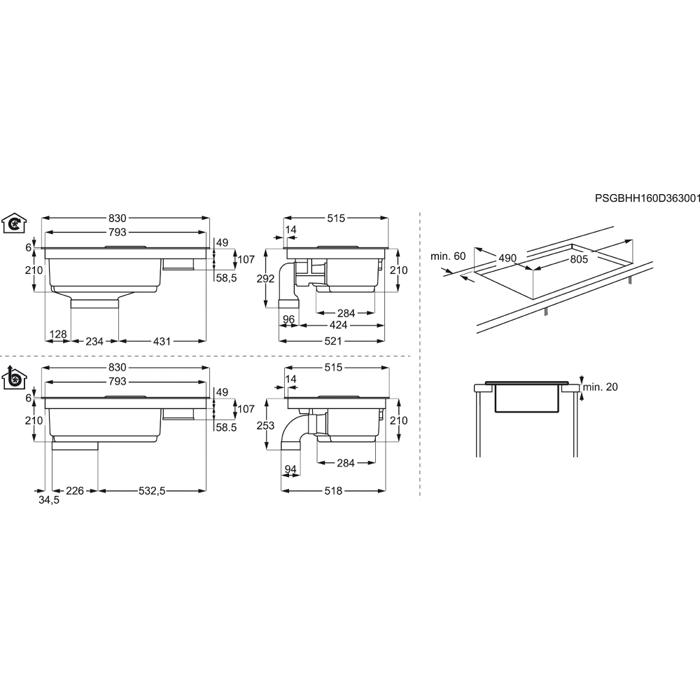 aeg kochfeld dunstabzug kombination combo hob ide84241ib. Black Bedroom Furniture Sets. Home Design Ideas