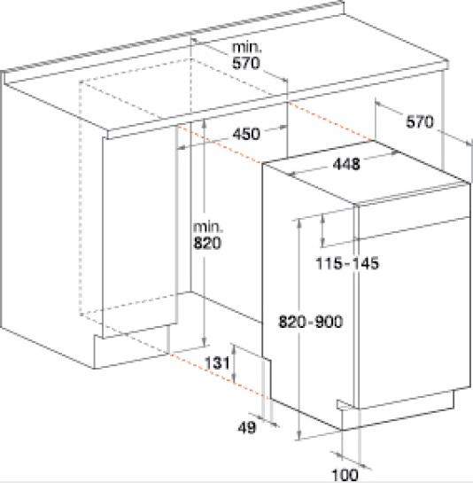 bauknecht geschirrsp ler 45cm integrierbar edelstahloptik gci826ix. Black Bedroom Furniture Sets. Home Design Ideas