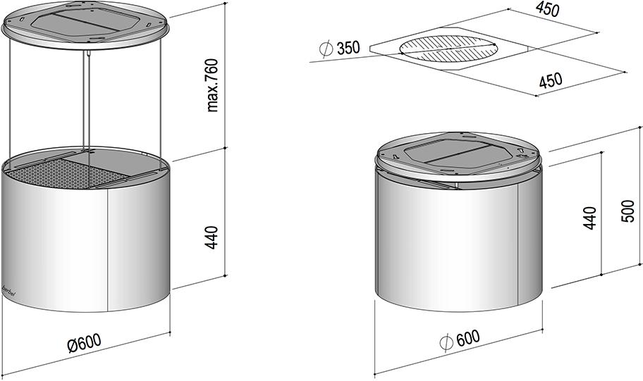 berbel deckenlifthaube skyline round bdl 60 skr glas weiss. Black Bedroom Furniture Sets. Home Design Ideas